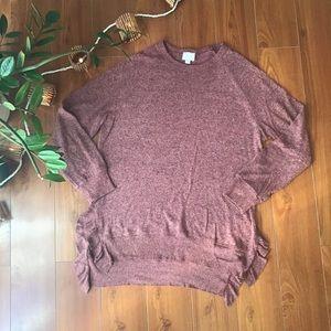 Anthropologie Postmark purple ruffle hem sweater